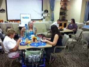 Residents at Laurel Oaks Senior Apartments enjoying brunch and socializing.