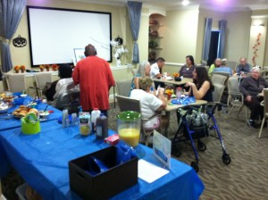 Residents mingling with other residents at Laurel Oaks Senior Apartments Fall Brunch in Okeechobee, FL.