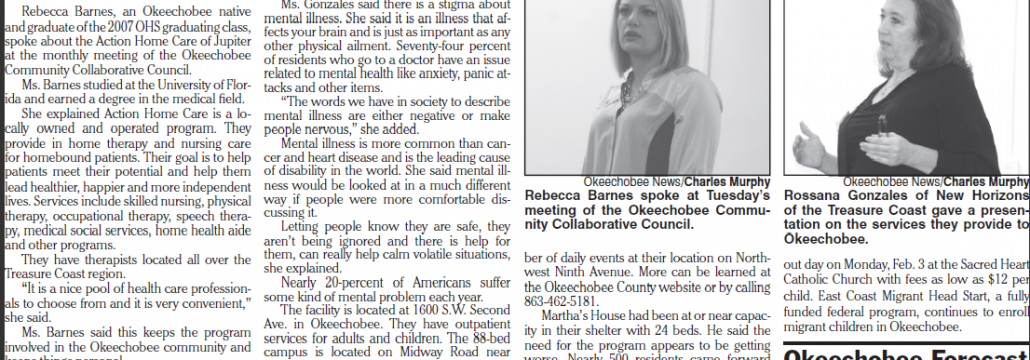 Action Home Care (Rebecca Barnes) in Okeechobee News